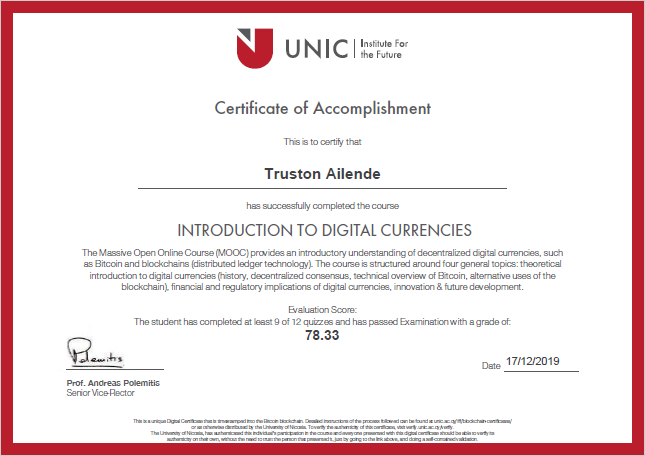 University of Nicosia Certificate