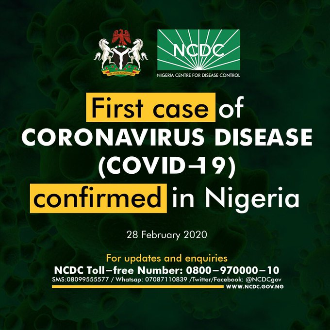 First case of Coronavirus confirmed in Nigeria