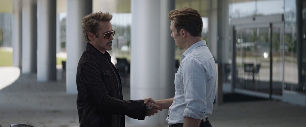 Iron Man Shakes Captain America in Avengers Endgame